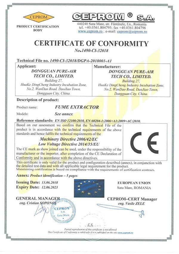 执信环保PURE-AIR-CE-CERTIFICIATION-Page-1详情